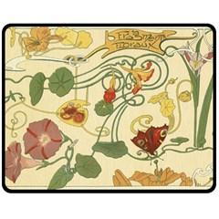 Floral Art Nouveau Double Sided Fleece Blanket (medium)  by 8fugoso