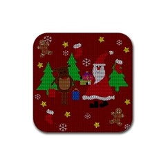 Ugly Christmas Sweater Rubber Coaster (square)
