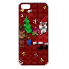 Ugly Christmas Sweater Apple Seamless Iphone 5 Case (clear) by Valentinaart