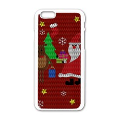 Ugly Christmas Sweater Apple Iphone 6/6s White Enamel Case by Valentinaart