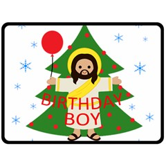 Jesus   Christmas Double Sided Fleece Blanket (large)  by Valentinaart