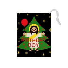 Jesus   Christmas Drawstring Pouches (medium)  by Valentinaart