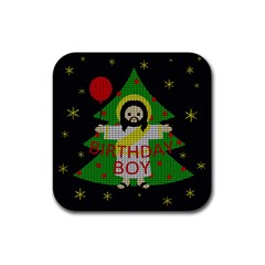 Jesus   Christmas Rubber Coaster (square)  by Valentinaart