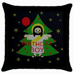 Jesus   Christmas Throw Pillow Case (black) by Valentinaart