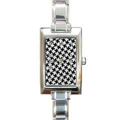 Houndstooth2 Black Marble & White Leather Rectangle Italian Charm Watch by trendistuff