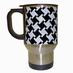 Houndstooth2 Black Marble & White Leather Travel Mugs (white) by trendistuff