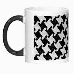 Houndstooth2 Black Marble & White Leather Morph Mugs by trendistuff