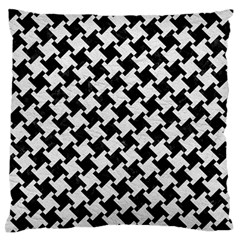 Houndstooth2 Black Marble & White Leather Large Flano Cushion Case (one Side) by trendistuff