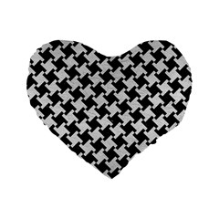Houndstooth2 Black Marble & White Leather Standard 16  Premium Flano Heart Shape Cushions by trendistuff
