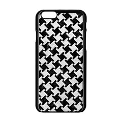 Houndstooth2 Black Marble & White Leather Apple Iphone 6/6s Black Enamel Case by trendistuff