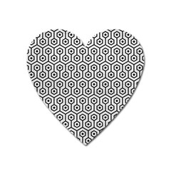 Hexagon1 Black Marble & White Leather Heart Magnet