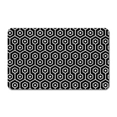 Hexagon1 Black Marble & White Leather (r) Magnet (rectangular) by trendistuff