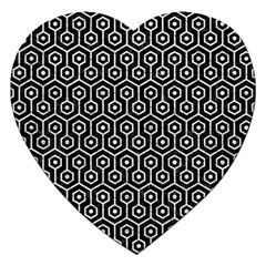 Hexagon1 Black Marble & White Leather (r) Jigsaw Puzzle (heart) by trendistuff