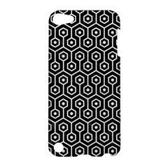 Hexagon1 Black Marble & White Leather (r) Apple Ipod Touch 5 Hardshell Case by trendistuff