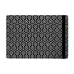 Hexagon1 Black Marble & White Leather (r) Apple Ipad Mini Flip Case by trendistuff