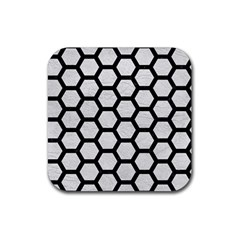 Hexagon2 Black Marble & White Leather Rubber Coaster (square)  by trendistuff