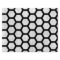 Hexagon2 Black Marble & White Leather Rectangular Jigsaw Puzzl by trendistuff