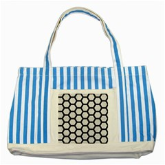 Hexagon2 Black Marble & White Leather Striped Blue Tote Bag by trendistuff