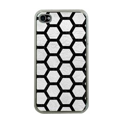 Hexagon2 Black Marble & White Leather Apple Iphone 4 Case (clear) by trendistuff