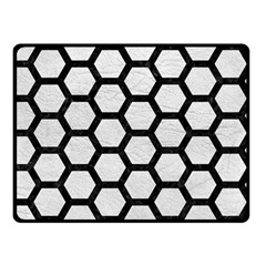 Hexagon2 Black Marble & White Leather Double Sided Fleece Blanket (small)  by trendistuff