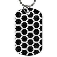 Hexagon2 Black Marble & White Leather (r) Dog Tag (one Side) by trendistuff