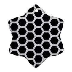 Hexagon2 Black Marble & White Leather (r) Ornament (snowflake) by trendistuff