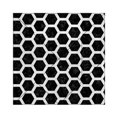 Hexagon2 Black Marble & White Leather (r) Acrylic Tangram Puzzle (6  X 6 ) by trendistuff