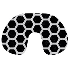 Hexagon2 Black Marble & White Leather (r) Travel Neck Pillows by trendistuff