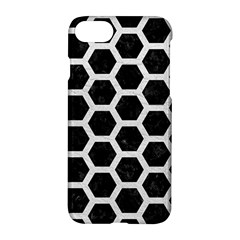 Hexagon2 Black Marble & White Leather (r) Apple Iphone 7 Hardshell Case by trendistuff