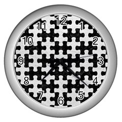 Puzzle1 Black Marble & White Leather Wall Clocks (silver)  by trendistuff