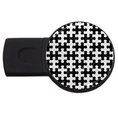 Puzzle1 Black Marble & White Leather Usb Flash Drive Round (2 Gb) by trendistuff