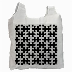 Puzzle1 Black Marble & White Leather Recycle Bag (one Side) by trendistuff