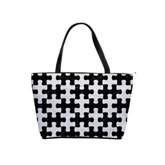 Puzzle1 Black Marble & White Leather Shoulder Handbags by trendistuff
