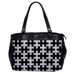 Puzzle1 Black Marble & White Leather Office Handbags by trendistuff