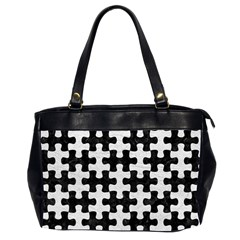 Puzzle1 Black Marble & White Leather Office Handbags (2 Sides)  by trendistuff