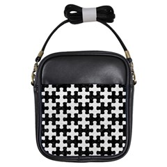 Puzzle1 Black Marble & White Leather Girls Sling Bags by trendistuff