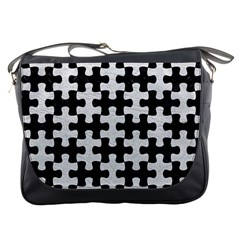 Puzzle1 Black Marble & White Leather Messenger Bags by trendistuff