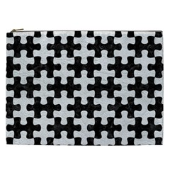 Puzzle1 Black Marble & White Leather Cosmetic Bag (xxl)  by trendistuff