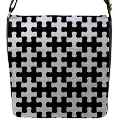 Puzzle1 Black Marble & White Leather Flap Messenger Bag (s) by trendistuff