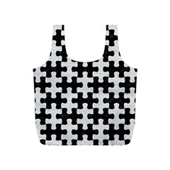 Puzzle1 Black Marble & White Leather Full Print Recycle Bags (s)  by trendistuff