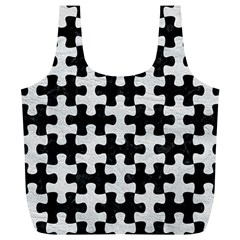 Puzzle1 Black Marble & White Leather Full Print Recycle Bags (l)  by trendistuff