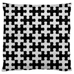 Puzzle1 Black Marble & White Leather Standard Flano Cushion Case (one Side) by trendistuff