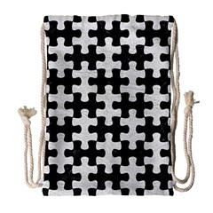 Puzzle1 Black Marble & White Leather Drawstring Bag (large) by trendistuff