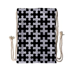 Puzzle1 Black Marble & White Leather Drawstring Bag (small) by trendistuff