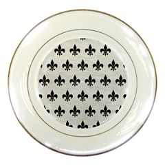 Royal1 Black Marble & White Leather (r) Porcelain Plates by trendistuff