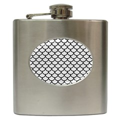 Scales1 Black Marble & White Leather Hip Flask (6 Oz) by trendistuff