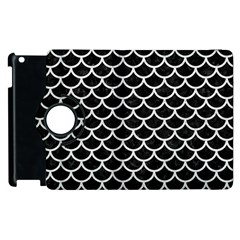 Scales1 Black Marble & White Leather (r) Apple Ipad 2 Flip 360 Case by trendistuff