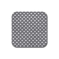Scales2 Black Marble & White Leather Rubber Coaster (square)  by trendistuff