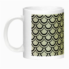 Scales2 Black Marble & White Leather Night Luminous Mugs by trendistuff