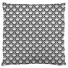 Scales2 Black Marble & White Leather Standard Flano Cushion Case (one Side)